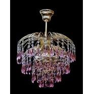 Хрустальная люстра Брызги шампанского с розовым журавликом