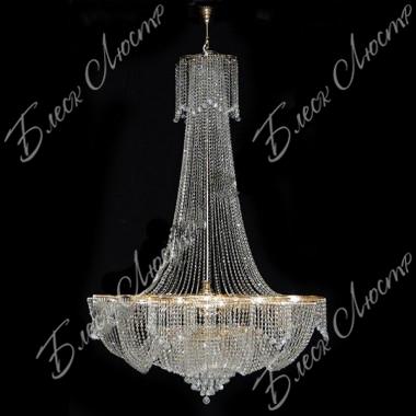 Хрустальная люстра Лотос Высокий 36 ламп с подвесом