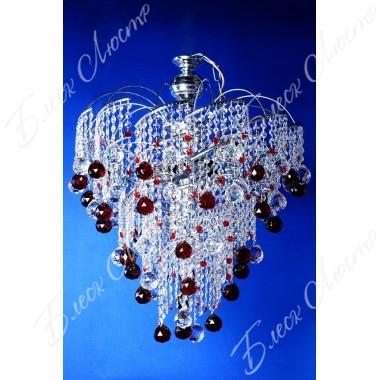 Хрустальная люстра Виноград в серебре с цветным шаром