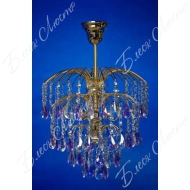 Хрустальная люстра Брызги шампанского с фиолетовым журавликом