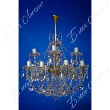 Люстра Свечи латунь белая двухъярусная 12 ламп
