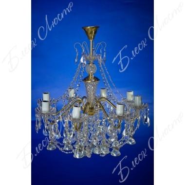Люстра Свечи латунь белая пирамида 8 ламп
