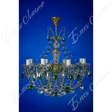 Люстра Свечи латунь зеленая 8 ламп